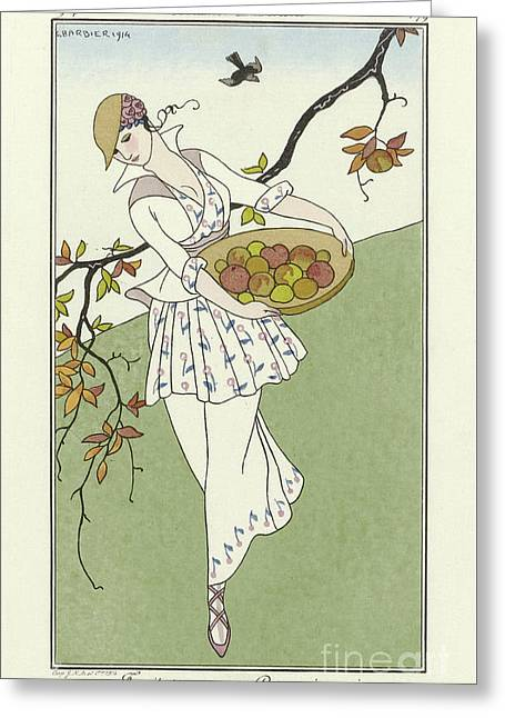 Vintage French Fashion Plate  Girl Picking Apples Greeting Card