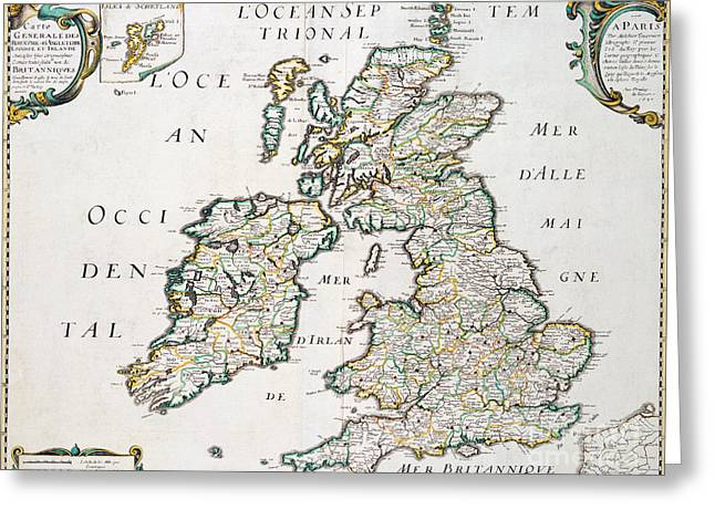 Vintage French Map Of Britain And Ireland Greeting Card by Nicolas Sanson D'Abbeville