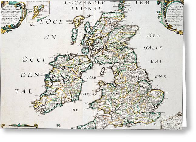 Vintage French Map Of Britain And Irelandvintage Map Of Britain And Ireland Greeting Card by Nicolas Sanson D'Abbeville