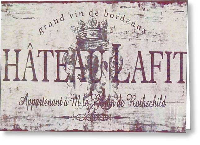 Vintage French Wine Sign Greeting Card