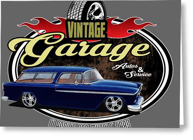 Vintage Garage With Nomad Greeting Card