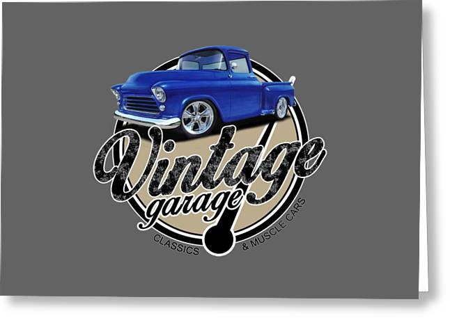 Vintage Garage With Stepside Greeting Card