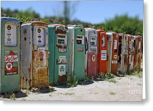 Vintage Gas Pumps Greeting Card