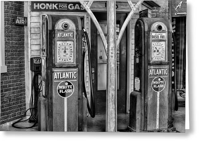 Vintage Gas Station Bw Greeting Card