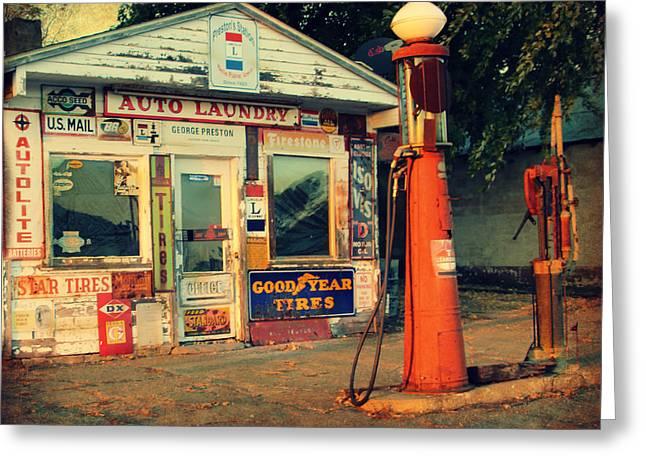 Vintage Gas Station Greeting Card by Kathy M Krause