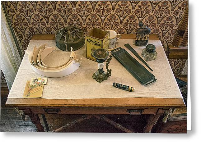 Greeting Card featuring the photograph Vintage Gentlemen's Preparation Table by Gary Slawsky