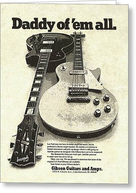 Vintage Gibson Les Paul Ad Greeting Card by Gary Bodnar