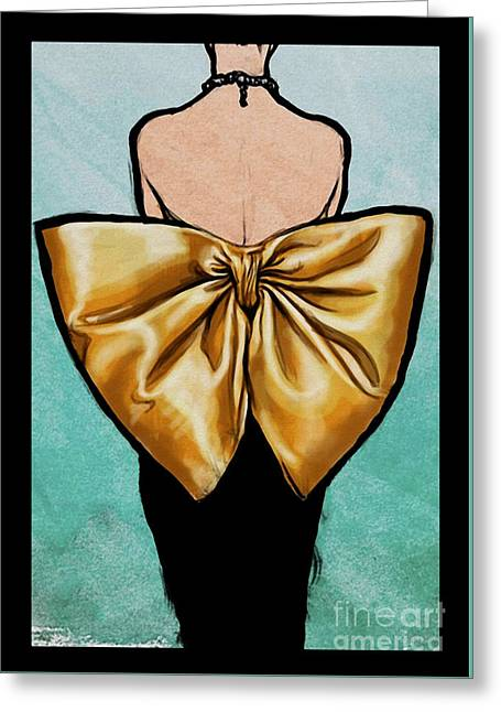 Vintage Glamour Fashion Dress Greeting Card by Mindy Sommers
