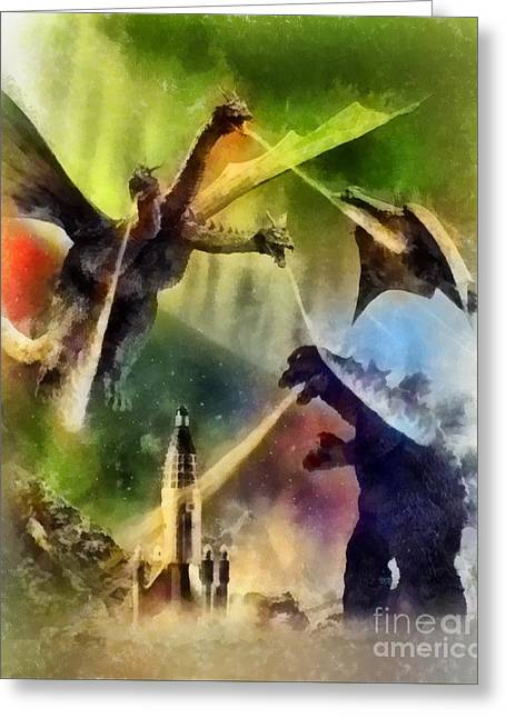 Vintage Godzilla Greeting Card by John Springfield