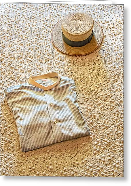 Greeting Card featuring the photograph Vintage Golfer's Hat And Shirt by Gary Slawsky