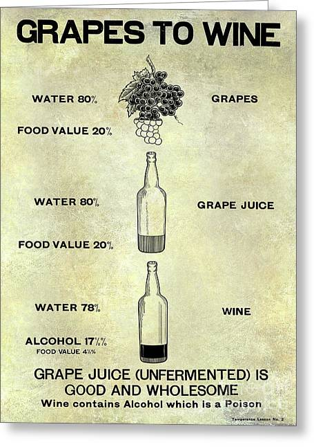 Vintage Grape To Wine Chart Greeting Card by Jon Neidert