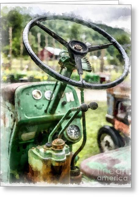Vintage Green Tractor Steering Wheel Greeting Card by Edward Fielding
