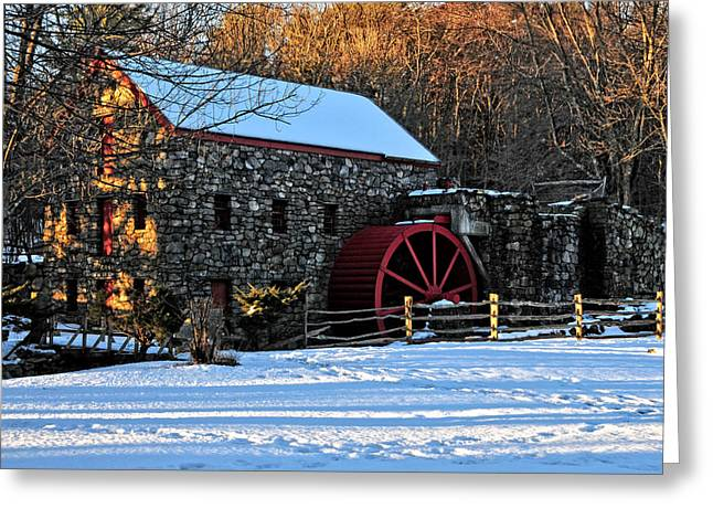 Vintage Grist Mill Greeting Card by Mike Martin