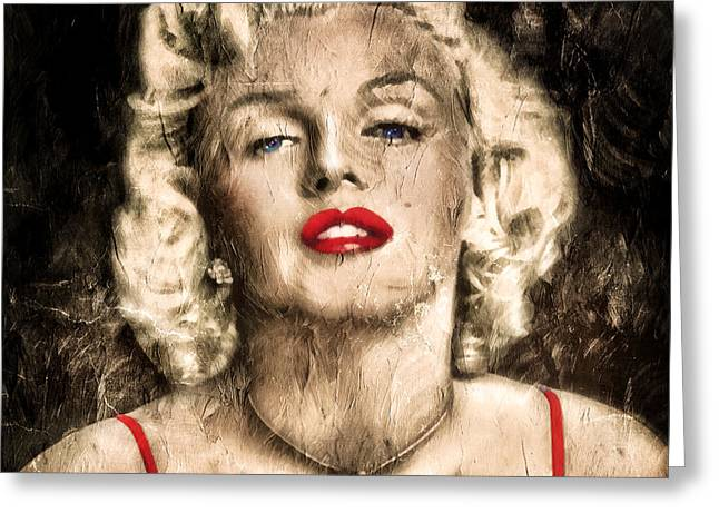 Vintage Grunge Goddess Marilyn Monroe  Greeting Card by Georgiana Romanovna
