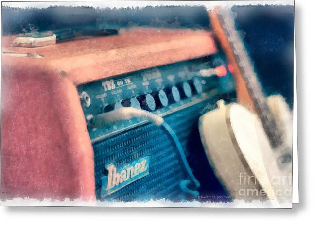 Vintage Guitar Amp Watercolor Greeting Card by Edward Fielding