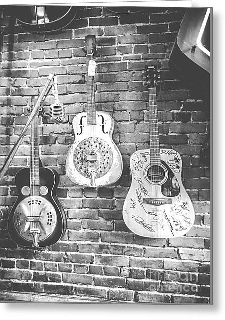 Vintage Guitar Trio In Black And White Greeting Card