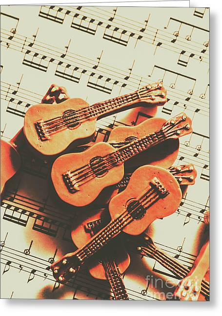 Vintage Guitars On Music Sheet Greeting Card by Jorgo Photography - Wall Art Gallery