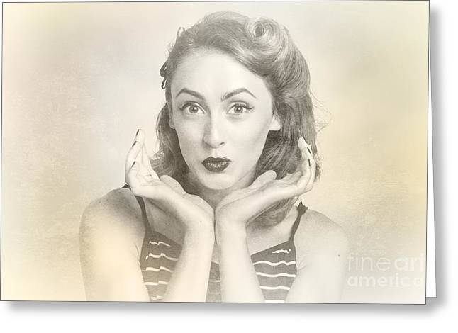 Vintage Hair Pin Up With Surprised Expression Greeting Card by Jorgo Photography - Wall Art Gallery