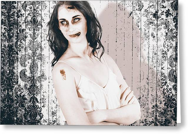 Vintage Halloween Spook On Grunge Background Greeting Card by Jorgo Photography - Wall Art Gallery