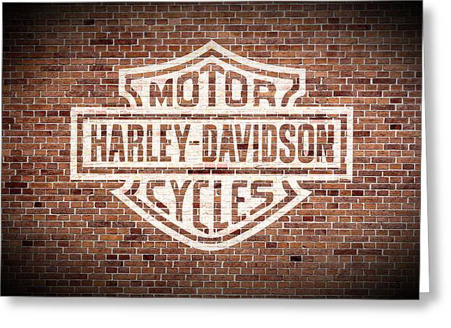 Vintage Harley Davidson Logo Painted On Old Brick Wall Greeting Card by Design Turnpike