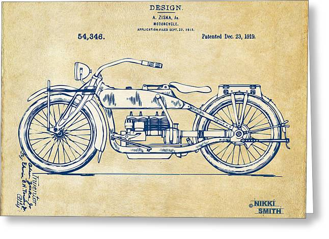 Harley Davidson Greeting Cards - Vintage Harley-Davidson Motorcycle 1919 Patent Artwork Greeting Card by Nikki Smith