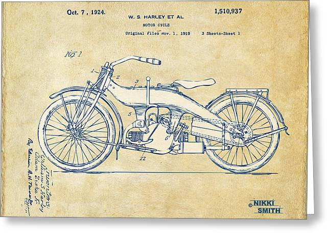 Road Travel Drawings Greeting Cards - Vintage Harley-Davidson Motorcycle 1924 Patent Artwork Greeting Card by Nikki Smith