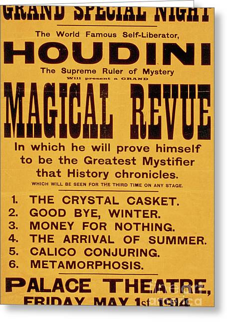 Vintage Harry Houdini Poster, Circa 1914 Greeting Card
