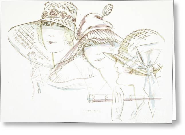Vintage Hat Designs From The Twenties Greeting Card