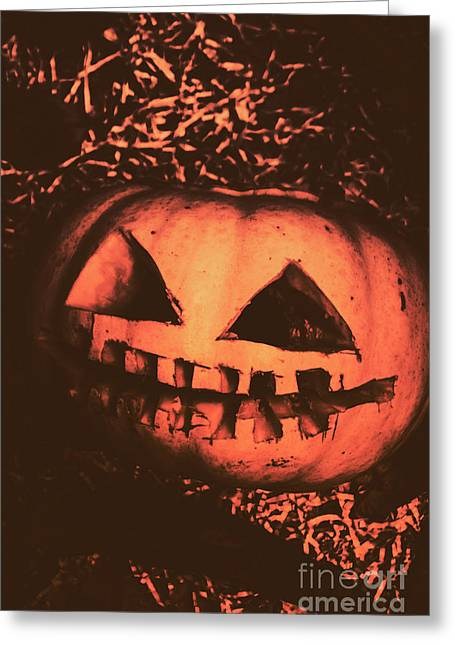 Vintage Horror Pumpkin Head Greeting Card