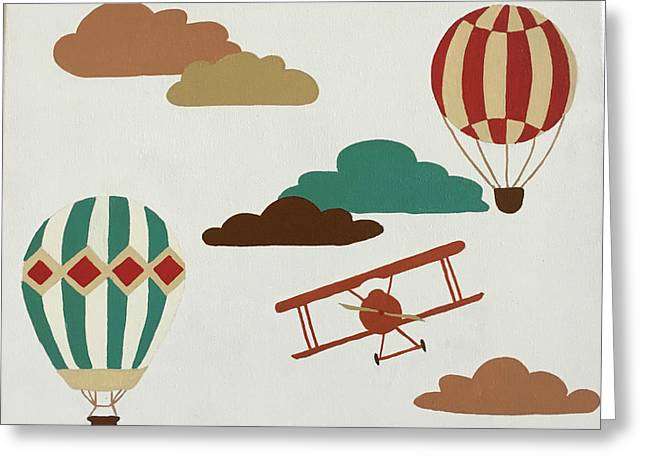Vintage Hot Air Balloons Greeting Card by Melinda Baynes