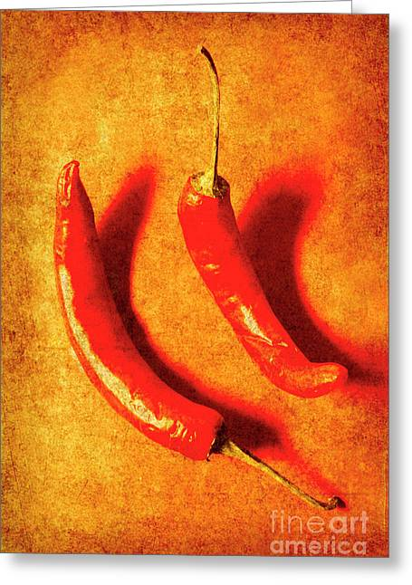 Vintage Hot Curry Peppers Greeting Card