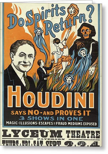 Vintage Houdini Show Poster Circa 1909  Greeting Card