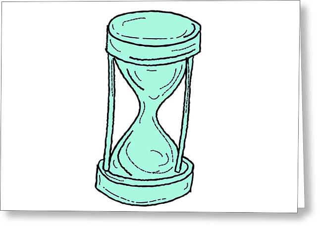 Vintage Hour Glass Drawing Greeting Card