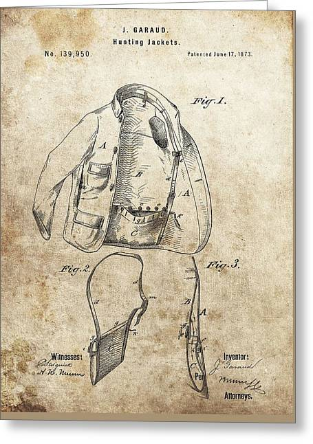 Vintage Hunting Jacket Patent Greeting Card