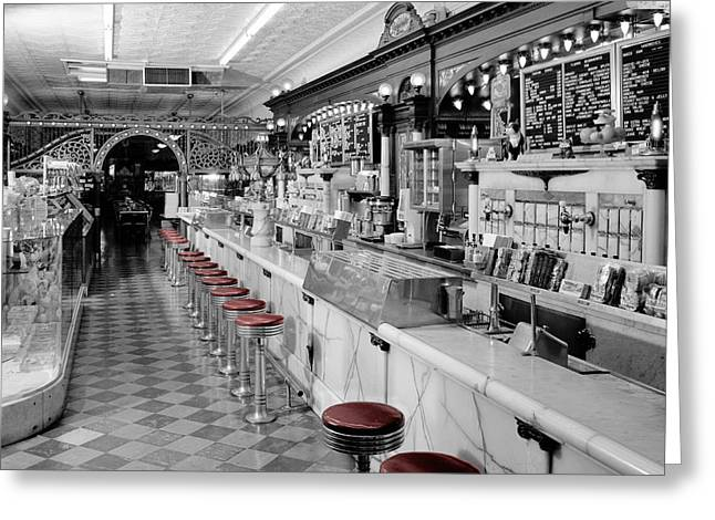 Vintage Ice Cream Parlor Greeting Card by Andrew Fare
