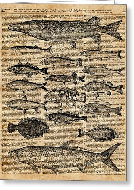 Vintage Illustration Of Fishes Over Old Book Page Dictionary Art Collage Greeting Card by Jacob Kuch