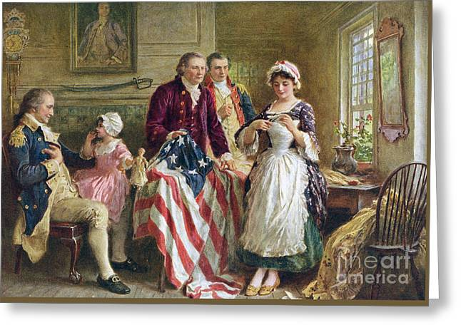 Vintage Illustration Of George Washington Watching Betsy Ross Sew The American Flag Greeting Card