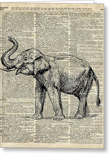 Vintage Illustration Of Happy Elephant Over Old Dictionary Book Page  Greeting Card by Jacob Kuch