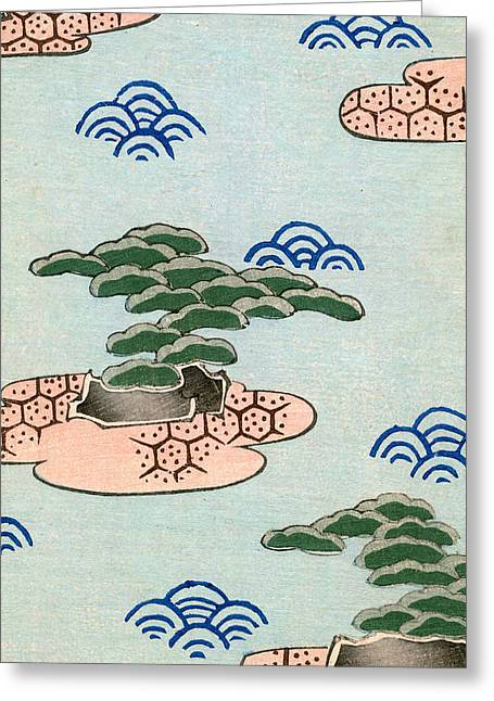Vintage Illustration Of Trees On Islands In A Lake Greeting Card by Japanese School