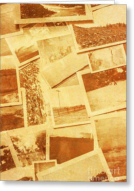 Vintage Image Of Various Photographs On Table  Greeting Card