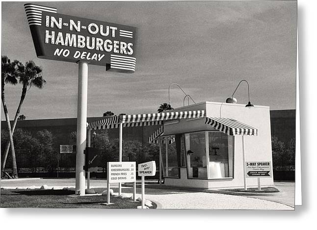Vintage In-n-out Burger Stand, Black And White Photography  Greeting Card