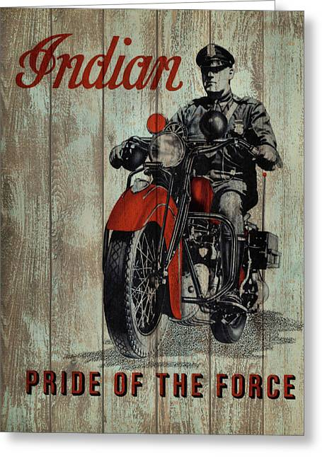 Vintage Indian Motorcycle Barn Door Greeting Card by Dan Sproul