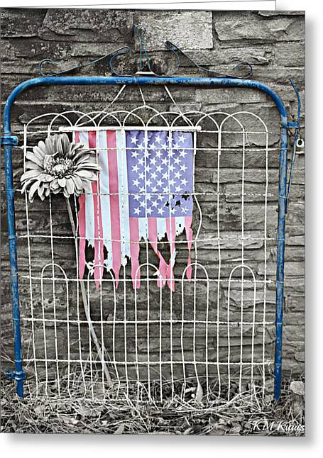 Vintage Iron Gate With Tattered Flag Greeting Card