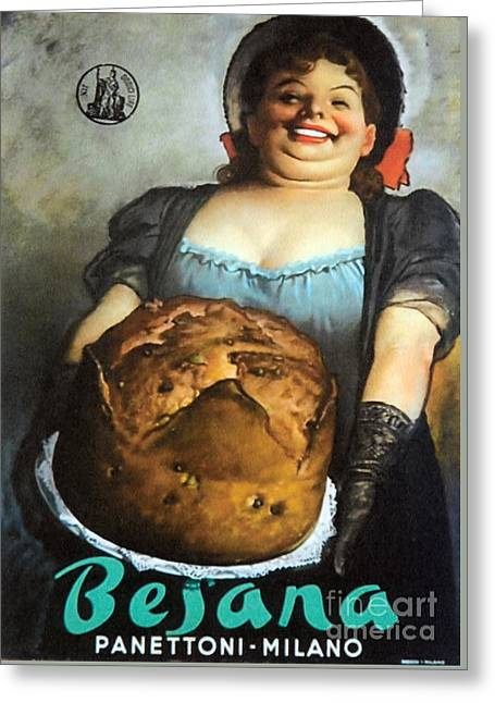 Vintage Italian Fresh Baked Bread Greeting Card by Mindy Sommers