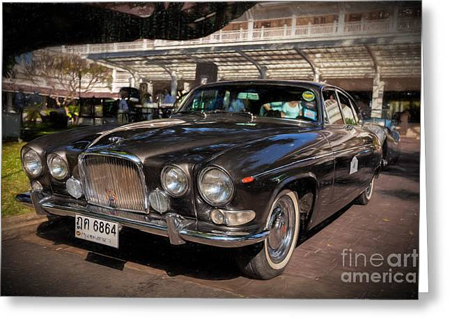 Vintage Jaguar Greeting Card by Adrian Evans