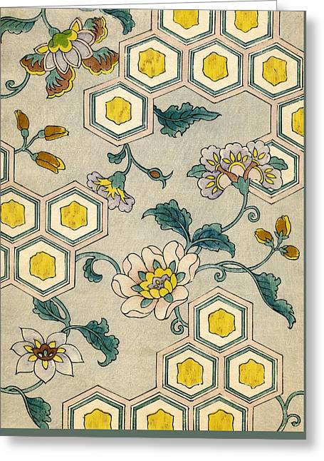 Vintage Japanese Illustration Of Blossoms On A Honeycomb Background Greeting Card