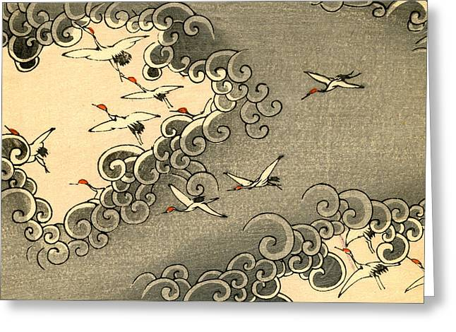 Vintage Japanese Illustration Of Cranes Flying In Grey Clouds  Greeting Card by Japanese School