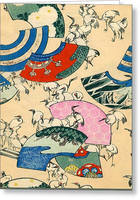 Vintage Japanese Illustration Of Fans And Cranes Greeting Card