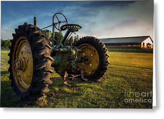 Vintage John Deere At Sunset Greeting Card by Edward Fielding