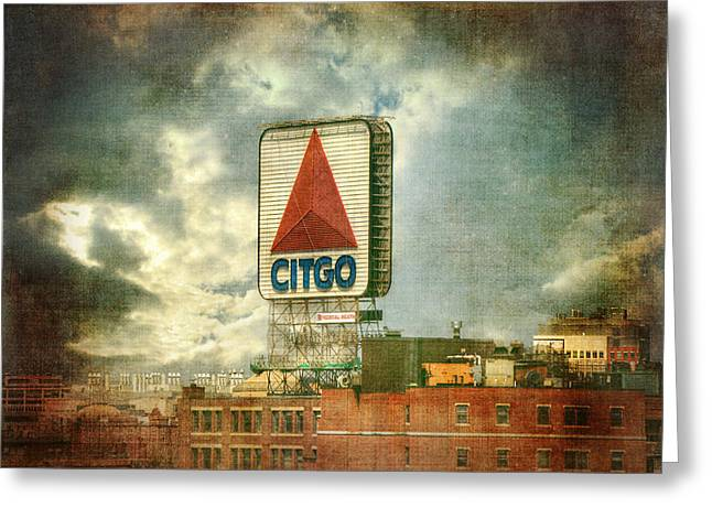 Vintage Kenmore Square Citgo Sign - Boston Red Sox Greeting Card by Joann Vitali